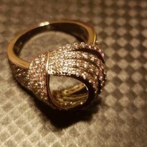 New Women's White Zircon White Gold Knot Ring